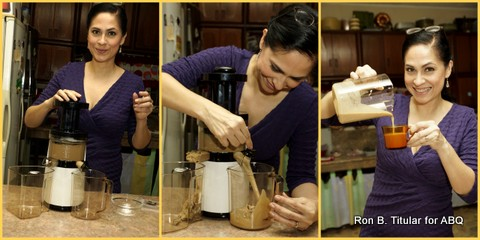 Making two cups of Sweet Potato (Kamote) Latte... one for me and one for the hubby who took all these great photos!