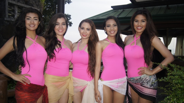 Team Red in their PINK swimsuits - L-R Diana Qeblawi, Keena Togher, Leslie Ramos, Jane Sotomayor and Pia Pialago