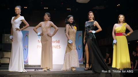 Valerie Weigmann is on the left in a white gown. This was taken during the screening of applicants for Miss World Philippines 2014...