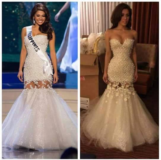 MJ Lastimosa in her competition gown. Left, at the prelims, Right, after the prelims she reportedly had it altered to fit her better.