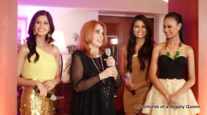 Shamcey Supsup (left), Madame Stella Marquez Araneta (with  mic), Janine Tugonon (in brown) , and Venus R
