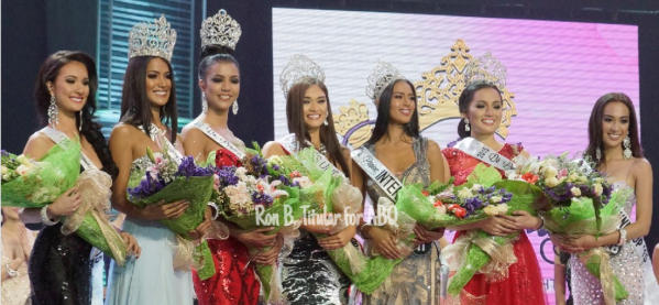 The newly crowned Miss Philippines Universe 2015 Pia Wurtzbach with her court - Kimverlyn Suiza (2nd RU), Ann Colis (Tourism), Christi McGarry (Intercontinental), Janicel Lubina (International), Rogelie Catacutan (Supranational) and Hannah Ruth SIson (1st RU)