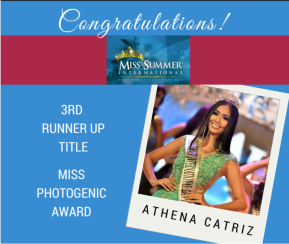 Athena Catriz, 3rd Runner-up, Miss Summer Internatioal 2015