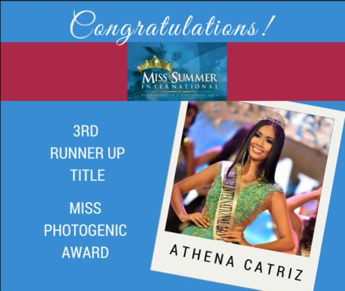 Athena Catriz, 3rd Runner-up, Miss Summer Internatioal 2015
