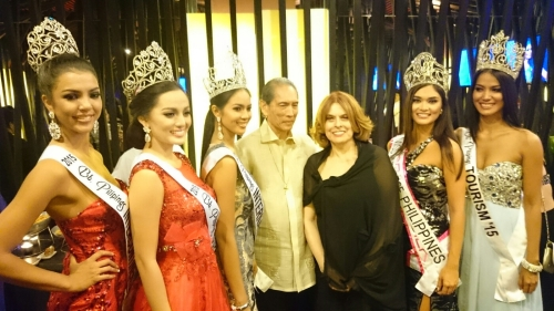 Christi McGarry (far left) at the Victory Party of Bb. Pilipinas batch 2015. With the winners are Mme Stella Marquez Araneta and husband Jorge Araneta