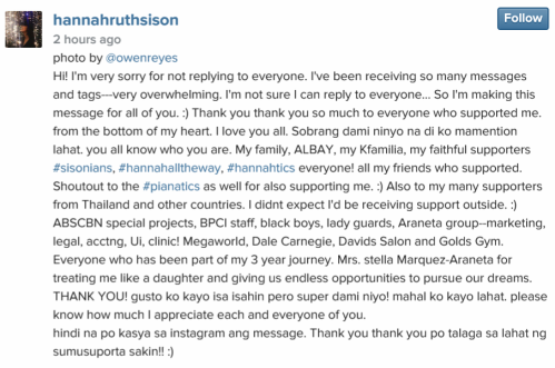Hannah Ruth Sison overwhelmed by fan support